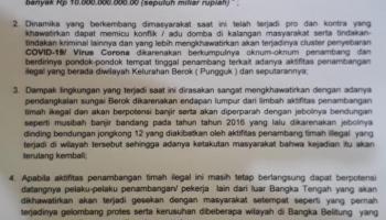 Perangkat Kelurahan Berok Surati Ombudsman Babel Terkait Tambang Ilegal Pungguk, Kenari dan Marbuk